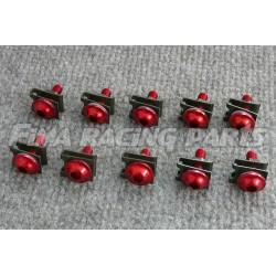 10 M6 Schrauben mit Clips und Mutter rot