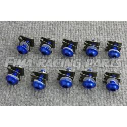 10 M6 Schrauben mit Clips und Mutter blau